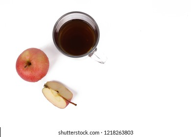 Apple and tea, cup of tea and delicious red apple isolated on white background - healthy diet
