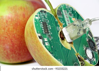 Apple with technology core - humorous concept for gmo food