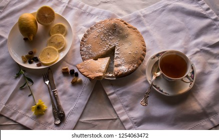 Apple tort and cup of tea