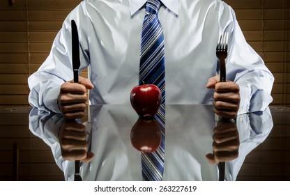 Apple and utensils