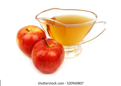 Apple vinegar on white background