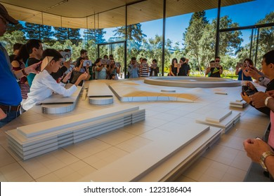 Apple Visitor Center, 1 Apple Park Way, San Jose, California, United States (USA) - August 5, 2018: Guest customers are interested of Apple products at Apple Visitor Center store.