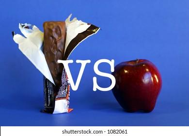 Apple VS candy bar