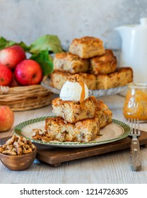 Apple walnut white chocolate cake squares dessert blondie bar