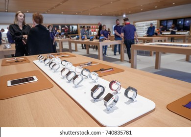 Apple Watches are seen at the new Apple store is seen along the Chicago River, in Chicago, Illinois, U.S., October 19, 2017.