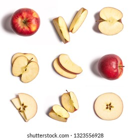 Apple in whole and pieces on a white background