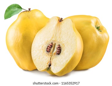 Apple-quinces with leaf. File contains clipping path.