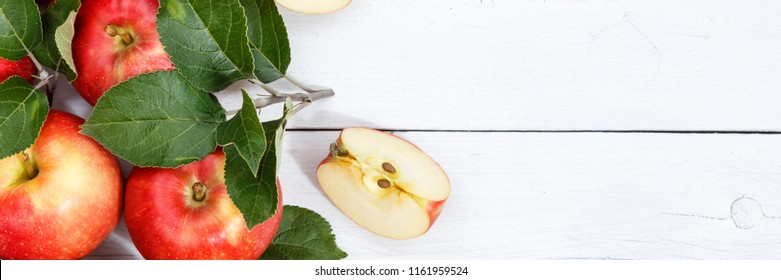 Apples apple fruits fruit with leaves from above banner copyspace autumn fall copy space wooden board wood