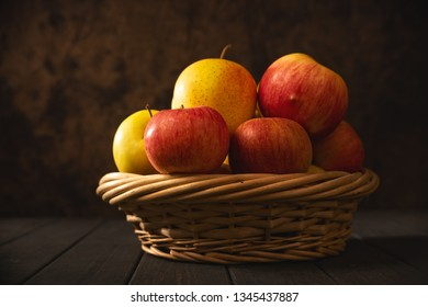 Apples in a basket, abstract food backgrounds with copy space