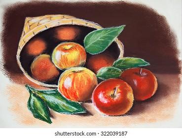 Apples in basket.  Original pastel painting