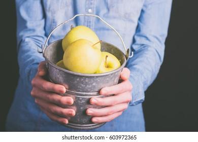 apples bucket in hands - vegetarian and vegan people - vintage style filter