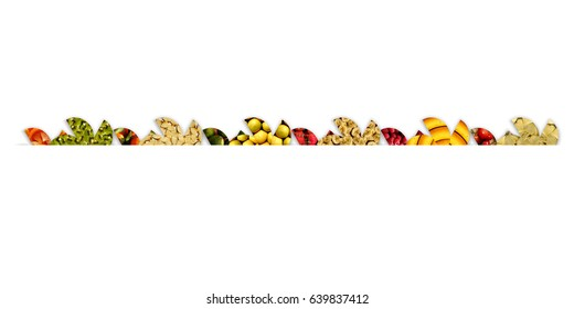 Apples, cherries, berries, citrus and exotic/tropical fruits, inside abstract floral shapes arranged as ribbon, on white background