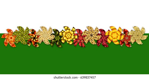 Apples, cherries, berries, citrus and exotic/tropical fruits, inside abstract flower shapes arranged in zigzag, on two-tone background: white and green, for catalog heading/decor