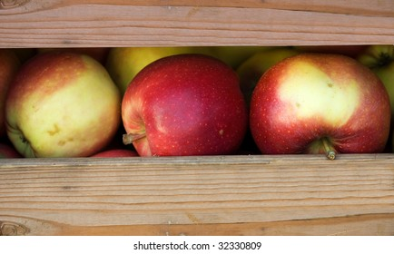 Apples in a crate ready for sale