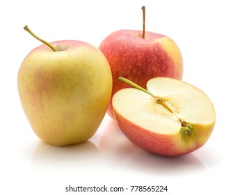 Apples (Evelina variety) isolated on white background two whole red yellow with stems and one half