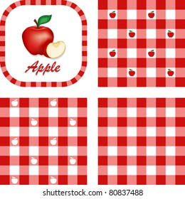 Apples and Gingham. Seamless patterns in three check designs in red and white, fresh, garden fruit, illustration label tag with text.