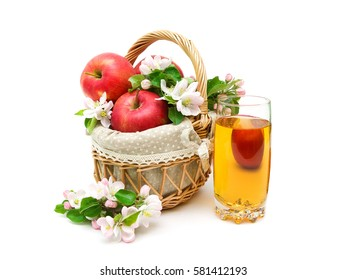 apples and glass of apple juice isolated on white background.