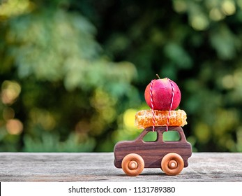 Apples and honey for the Jewish New Year Rosh Hashanah with copy space