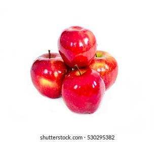 Apples isolated on white background. Red, yellow and green apples.