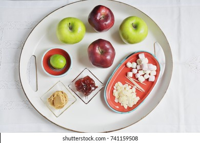 Apples, jelly, peanut butter, and marshmallows