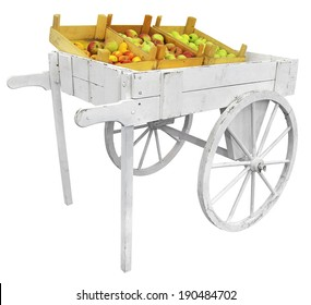 Apples on a white wooden cart, isolated on white background