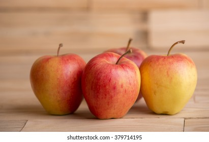 apples on wooden table, studio picture