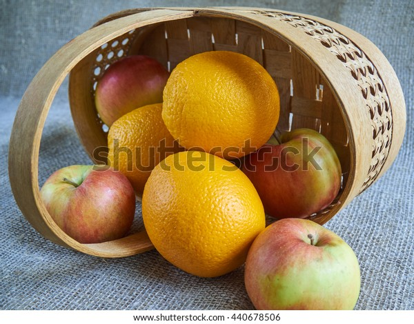 Apples and oranges in the basket.