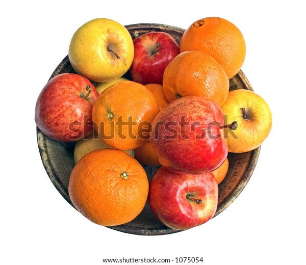 Apples and oranges in a ceramic bowl