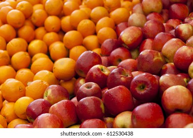 Apples and Oranges on a market stall in Harbour Town, Queensland, Australia. Full-frame, Background, Healthy Food
