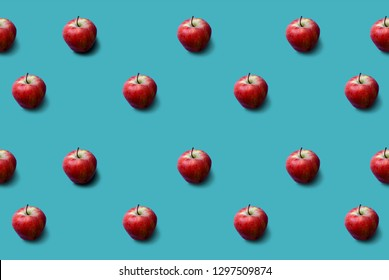 Apples pattern on turquoise background. Fresh. Nature.