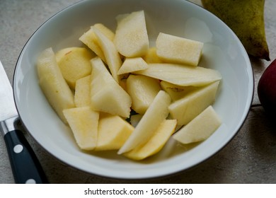 Apples sliced with a knife