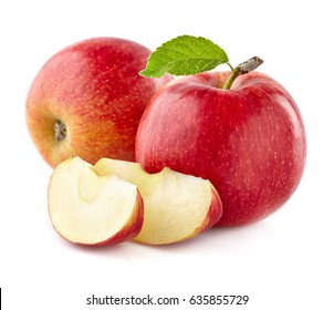 Apples with slices on a white background