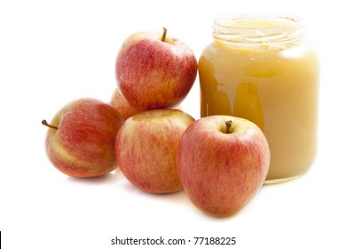 Applesauce with apples isolated on a white background