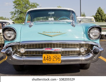 APPLETON, WI - JULY 21: The Front of a Powder Blue and White 1957 Chevy or Chevrolet Bel Air at the 18th Annual WVBO Classic Car Show on July 21, 2012 in Appleton, Wisconsin.
