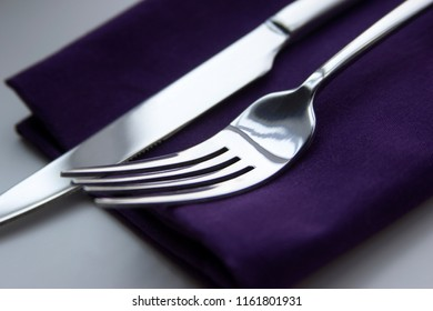 appliances, fork and knife on the layette