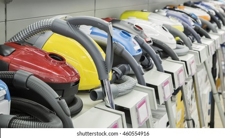 Appliances store presents for sale modern vacuum cleaners from different manufacturers..