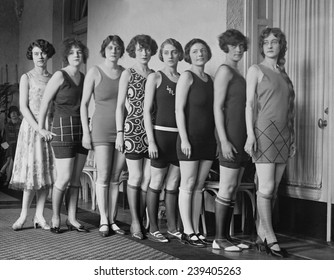 Applicants to the Paramount Motion Picture School, dressed in fashionable bathing suits and rolled stockings, 1925