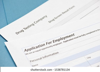Application for employment with drug screen results form.