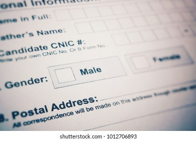 Application form - check male or female. choice not made.