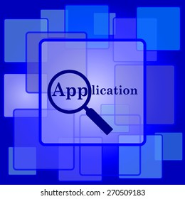 Application icon. Internet button on abstract background.