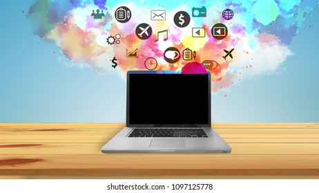 Application icons interface on laptop. Social media concept