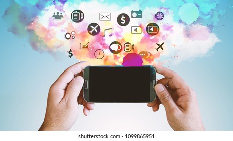 Application icons interface on smartphone. Social media concept