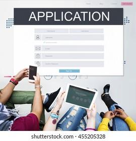 Application Membership Registration Follow Concept