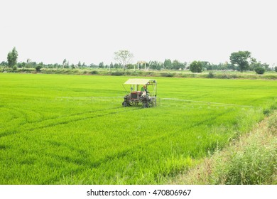 The application of pesticides in the agricultural countryside.