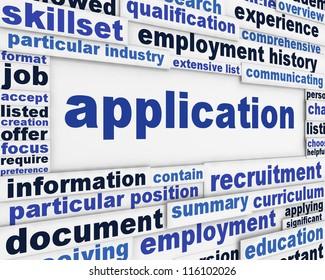 Application poster design. Employment message background