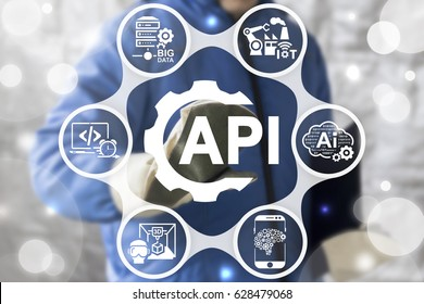 Application Programming Interface Industry 4 Concept. Worker touched gear API icon on virtual screen on background of network IoT, SERVER BIG DATA, AI, Computing, Cloud, VR 3D PRINT, Robotic IT icon.