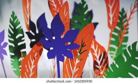 applique of colorful flowers on a white background