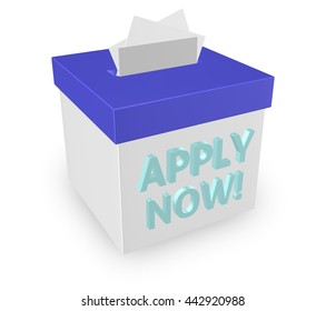 "Apply Now for a job, loan or other important thing you desire by inserting your application in this submission box. ""3d illustration"""