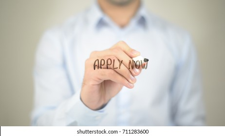 Apply Now,  Man writing on transparent screen
