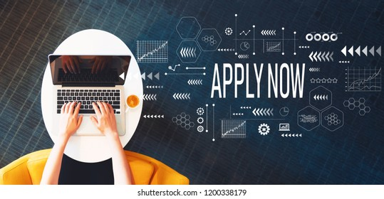 Apply now with person using a laptop on a white table